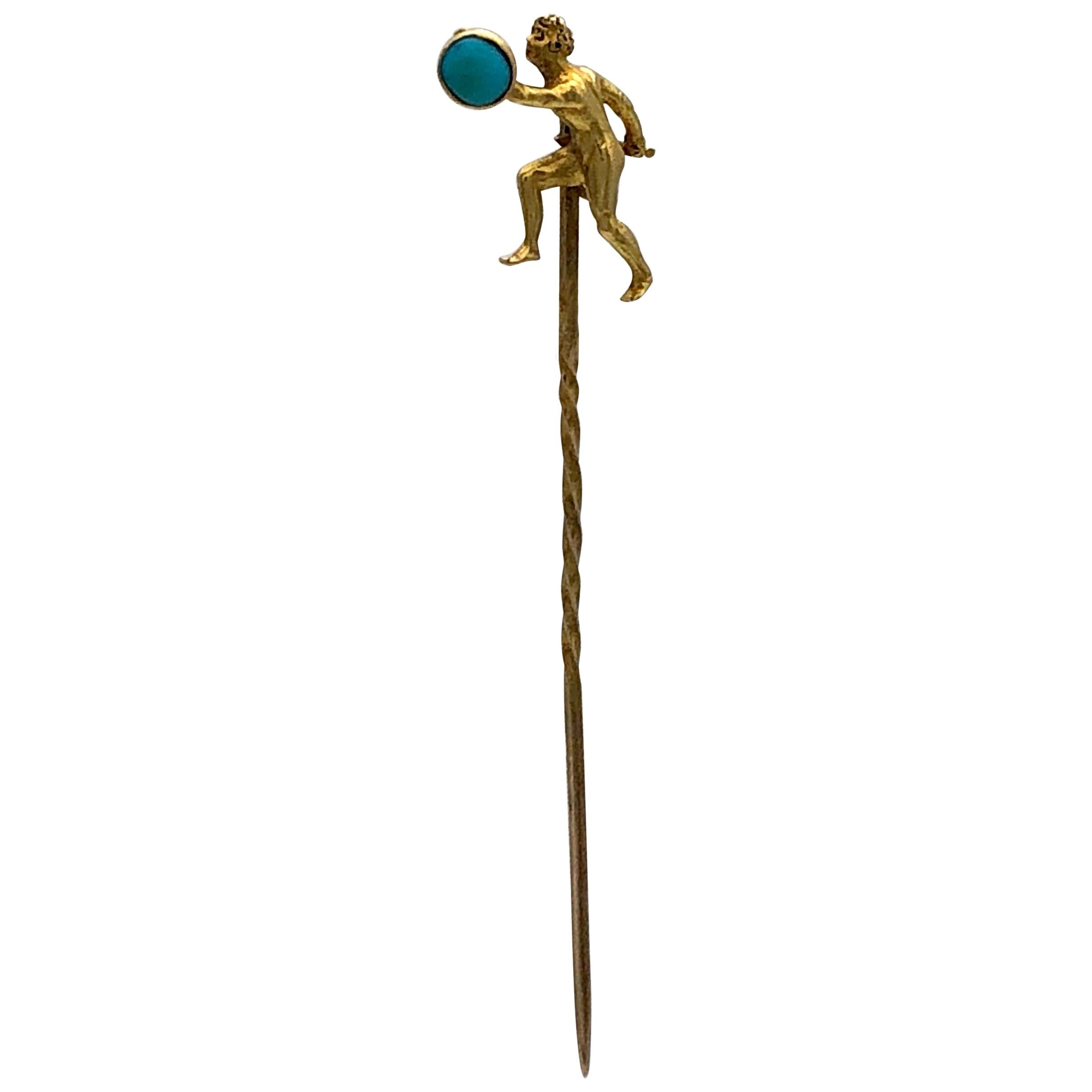 Antique Gold Sword Fighter Shield Warrior Turquoise Cabochon Stickpin Tiepin