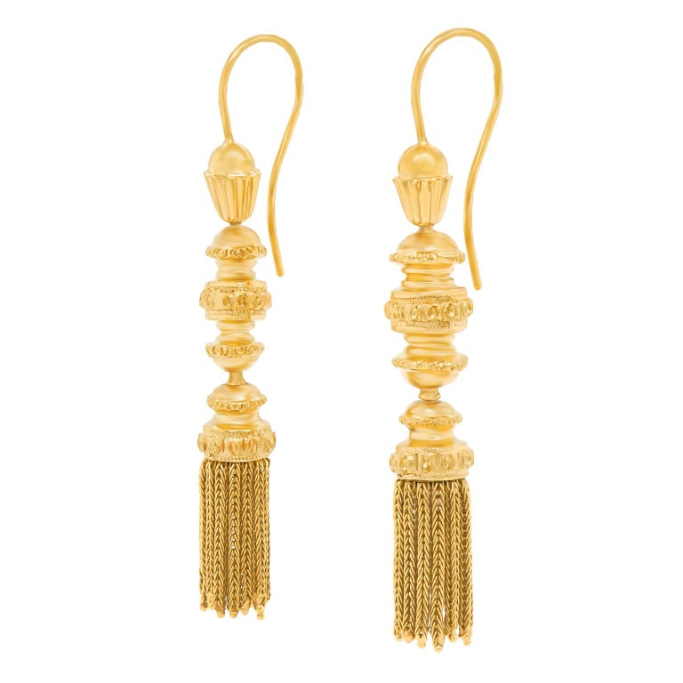 Victorian Antique Gold Tassle Earrings For Sale