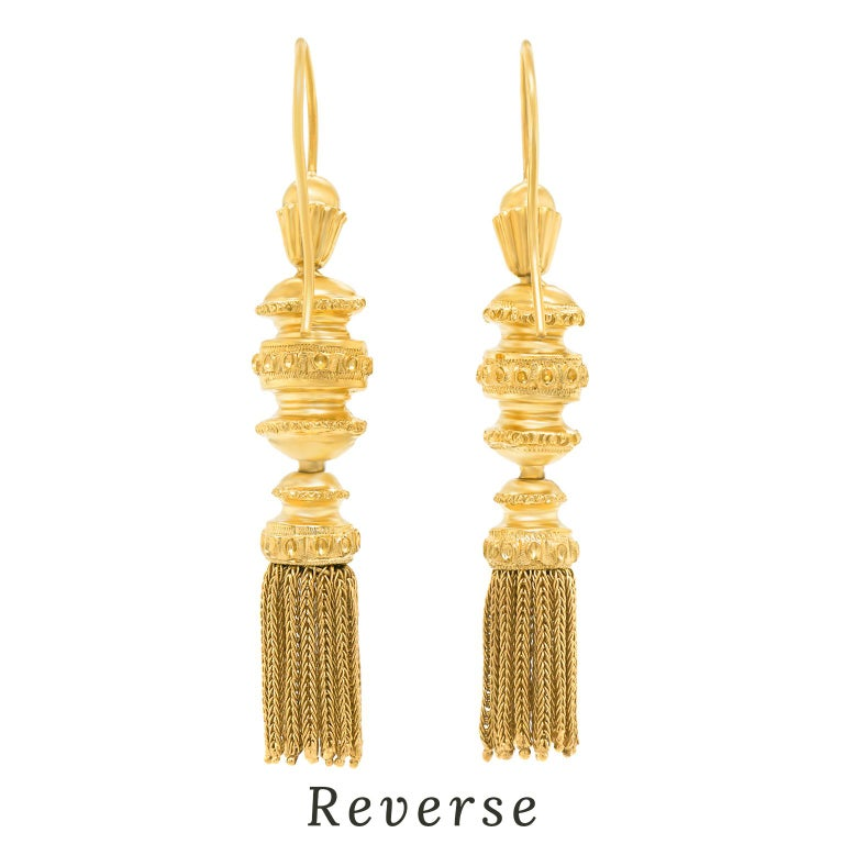 Antique Gold Tassle Earrings For Sale 2