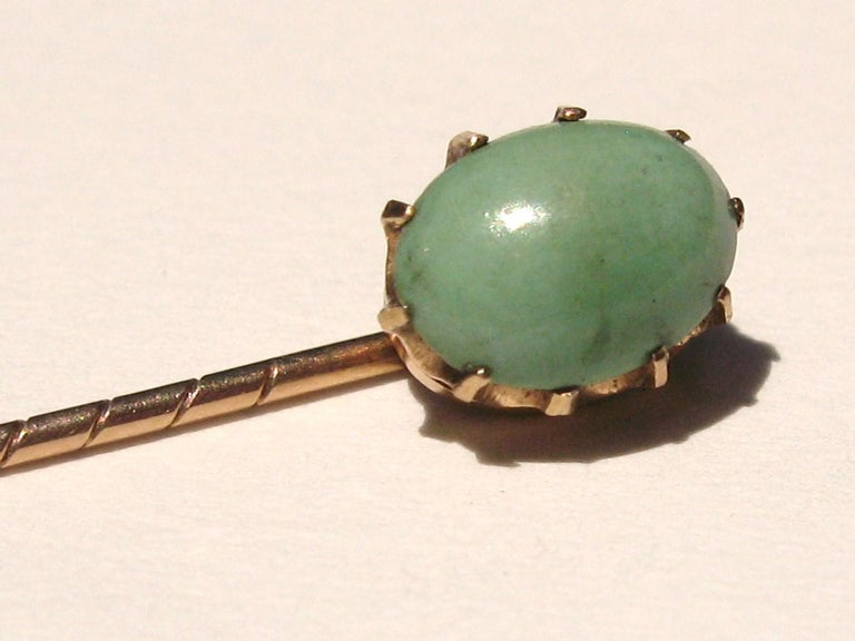 Victorian Antique Gold Turquoise Stick Pin 10 Karat For Sale