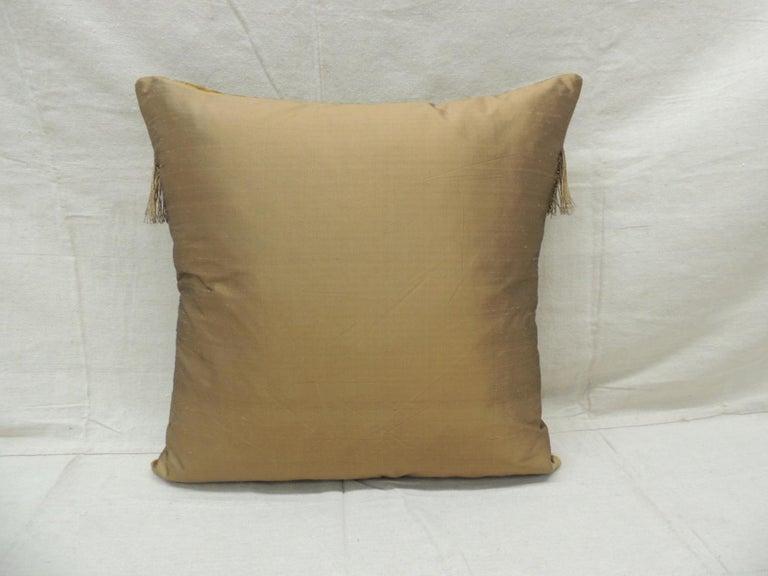 French Antique Gold Velvet Decorative Square Pillow For Sale