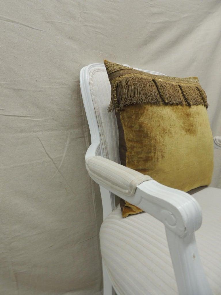 19th Century Antique Gold Velvet Decorative Square Pillow For Sale