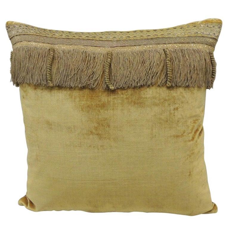 Antique Gold Velvet Decorative Square Pillow For Sale