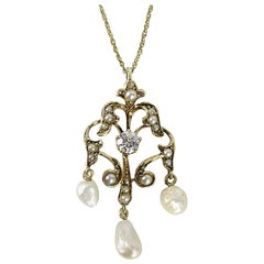 Antique Gold Victorian Lavaliere Diamond and Pearl Necklace
