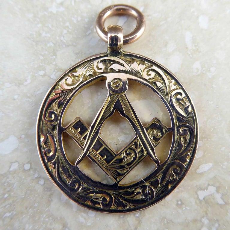 George V Antique Gold Watch Fob with Freemason Symbolism, Birmingham, 1911 For Sale
