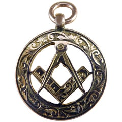 Antique Gold Watch Fob with Freemason Symbolism, Birmingham, 1911