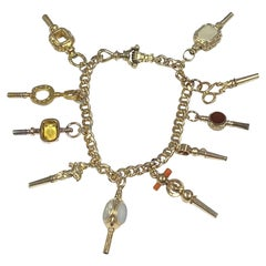 Antique Gold Watch Key Fob Bracelet