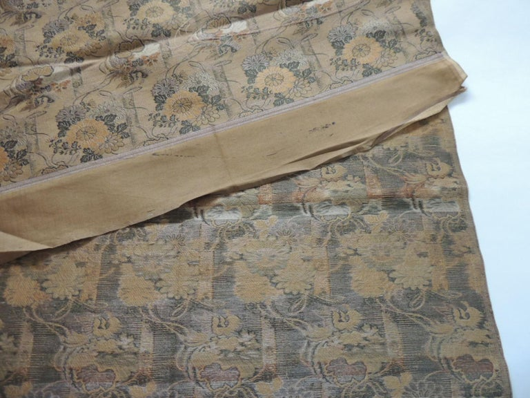 Japanese Antique Golden and Green Woven Silk Obi Textile For Sale