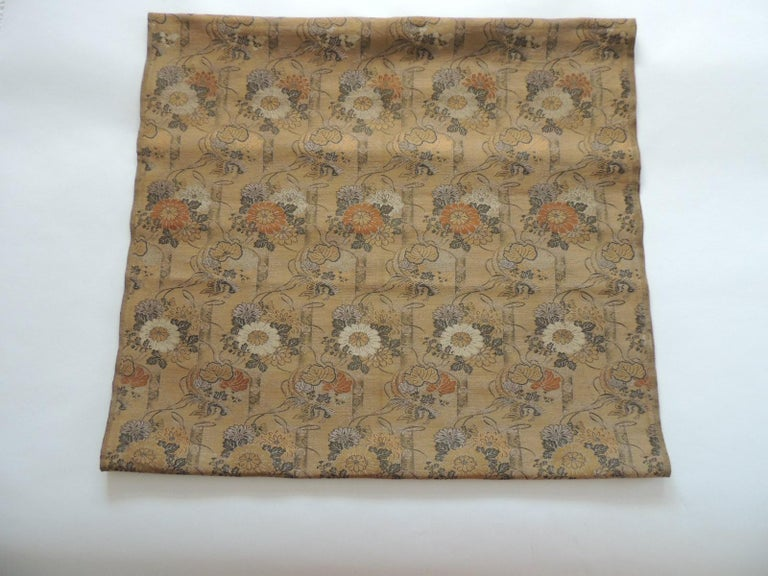 Hand-Crafted Antique Golden and Green Woven Silk Obi Textile For Sale