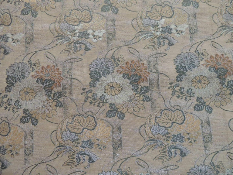 19th Century Antique Golden and Green Woven Silk Obi Textile For Sale