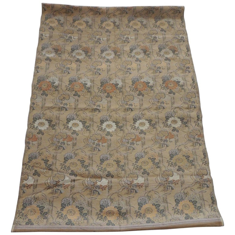 Antique Golden and Green Woven Silk Obi Textile For Sale