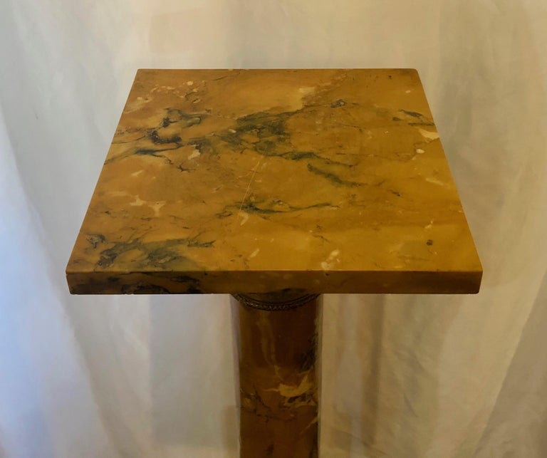 French Antique Golden Marble Revolving Pedestal with Ormolu Mounts For Sale