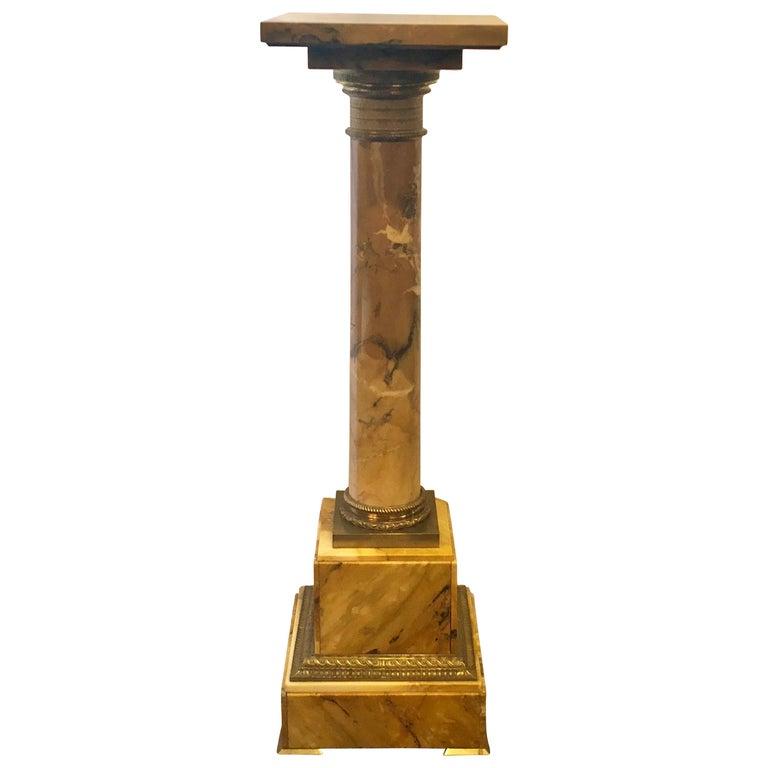 Antique Golden Marble Revolving Pedestal with Ormolu Mounts For Sale