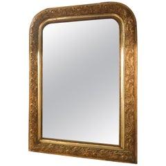 Antique Golden Mirror, Carved Frame Embossed Floral Motifs, 1800, France