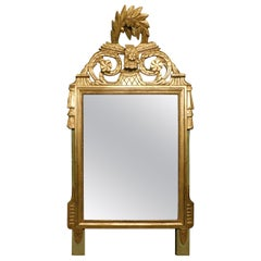 Antique Golden Mirror Wood, Floral Carved Decorations, 1800, Italy