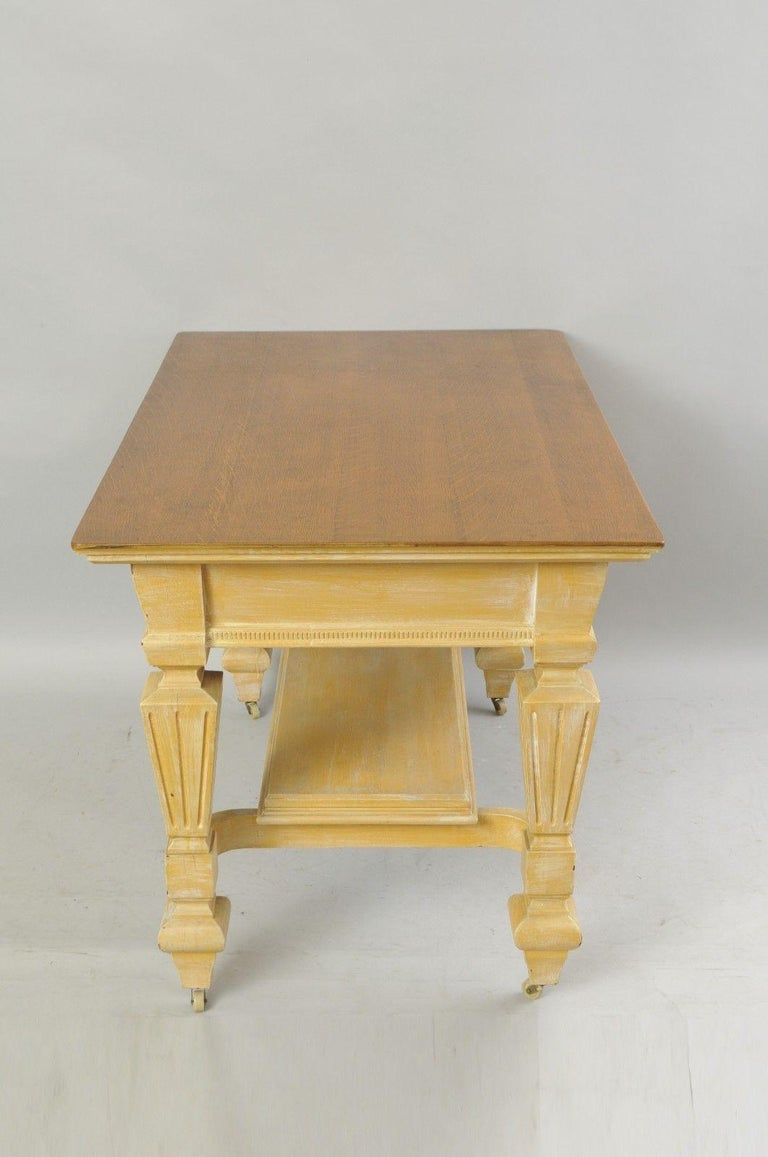 Antique Golden Oak Desk Hall Table Console Mission Arts & Crafts One Drawer For Sale 4