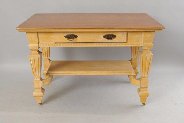 Antique Golden Oak Desk Hall Table Console Mission Arts & Crafts One Drawer For Sale 6