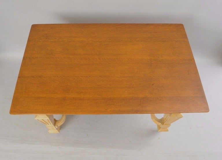 Antique Mission golden oak table with one drawer. Item features solid oakwood construction, single drawer, lower shelf, brass hardware, golden oak top with beautiful wood grain, finished back, solid wood base with attractive yellow