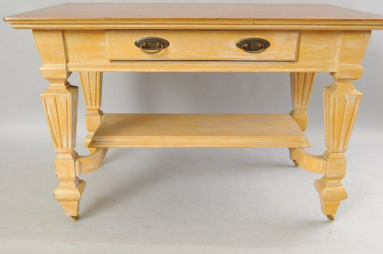 Antique Golden Oak Desk Hall Table Console Mission Arts & Crafts One Drawer In Good Condition For Sale In Philadelphia, PA