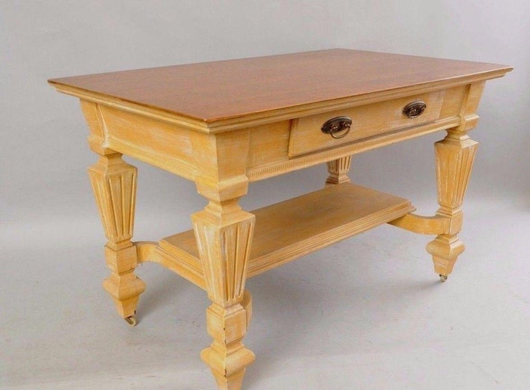 Antique Golden Oak Desk Hall Table Console Mission Arts & Crafts One Drawer For Sale 1