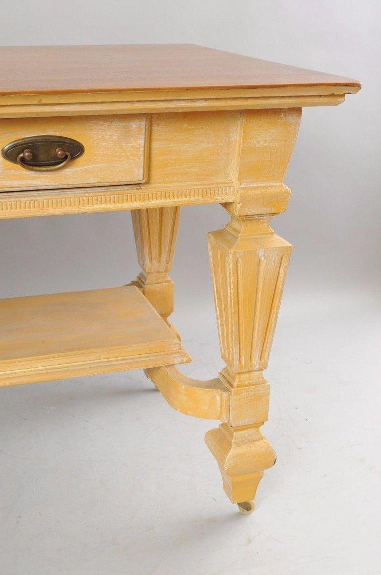 Antique Golden Oak Desk Hall Table Console Mission Arts & Crafts One Drawer For Sale 2
