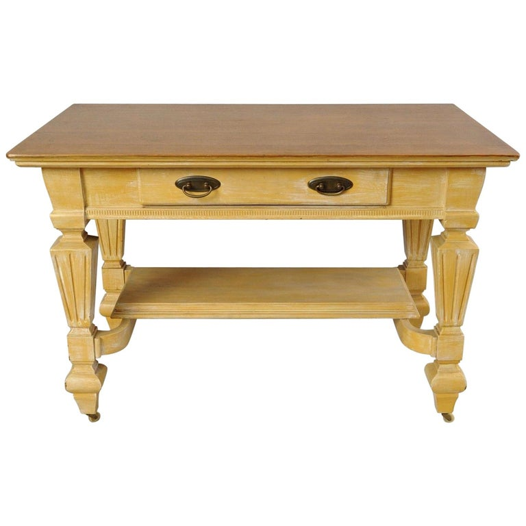 Antique Golden Oak Desk Hall Table Console Mission Arts & Crafts One Drawer For Sale