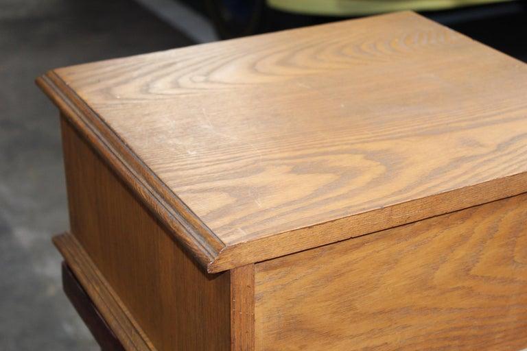 Antique Golden Oak Dexter Braid 2-Drawer Spool Cabinet For Sale 5