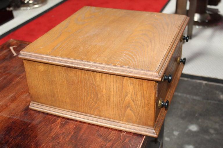 Antique Golden Oak Dexter Braid 2-Drawer Spool Cabinet For Sale 6
