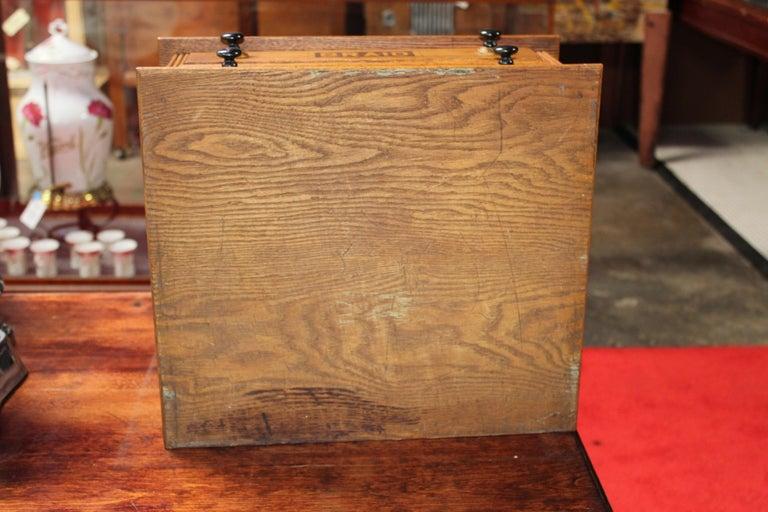 Antique Golden Oak Dexter Braid 2-Drawer Spool Cabinet For Sale 7