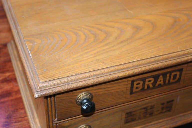 American Antique Golden Oak Dexter Braid 2-Drawer Spool Cabinet For Sale