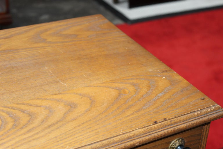 Antique Golden Oak Dexter Braid 2-Drawer Spool Cabinet In Fair Condition For Sale In Orange, CA