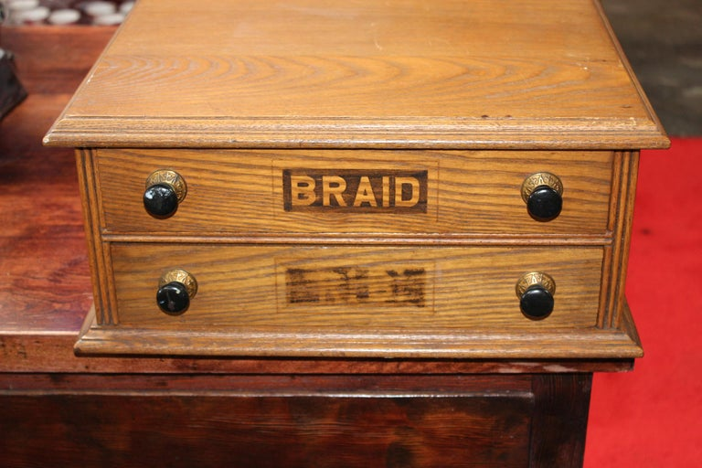 19th Century Antique Golden Oak Dexter Braid 2-Drawer Spool Cabinet For Sale