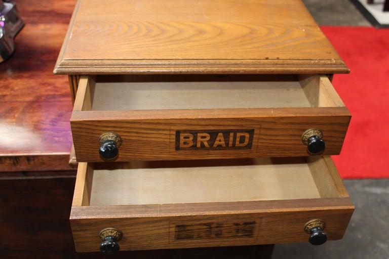 Antique Golden Oak Dexter Braid 2-Drawer Spool Cabinet For Sale 2