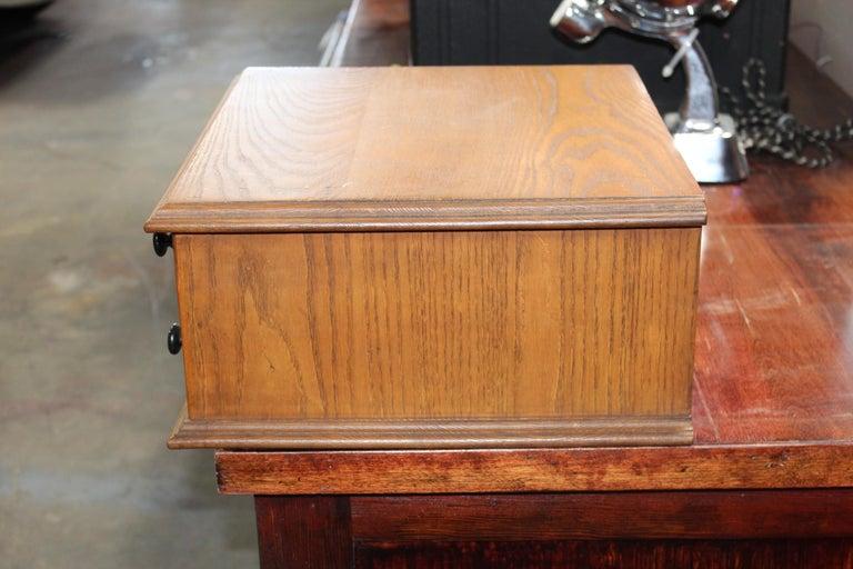 Antique Golden Oak Dexter Braid 2-Drawer Spool Cabinet For Sale 3