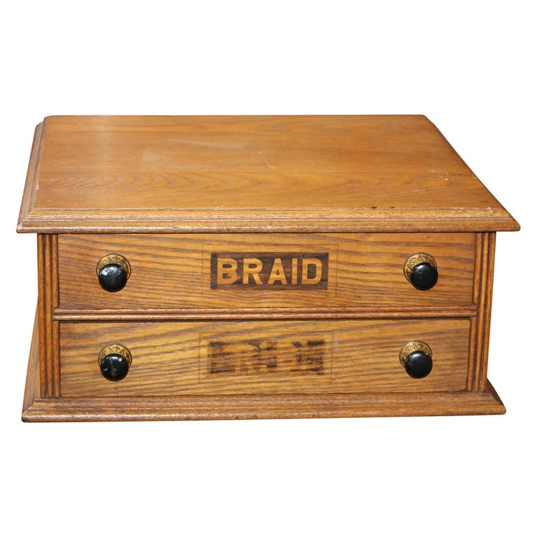 Antique Golden Oak Dexter Braid 2-Drawer Spool Cabinet For Sale