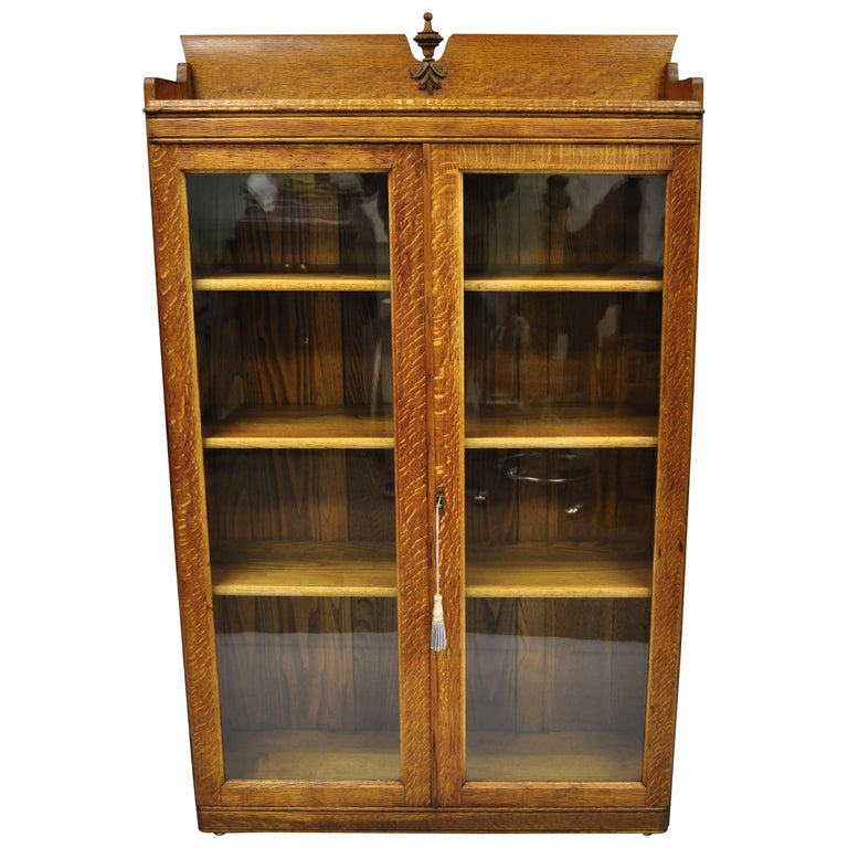 Antique Golden Oak Victorian Glass 2 Door Bookcase Chine Cabinet