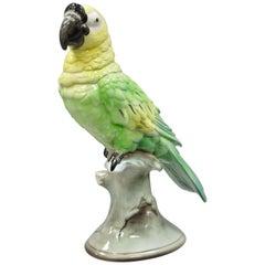 Antique Goldscheider Glazed Ceramic Porcelain Green Parrot Branch Figurine