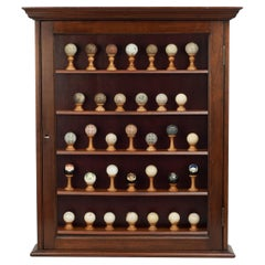 Antique Golf Ball Dispay Cabinet with Balls from 1890-1960
