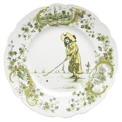 Antique Golf, Ceramic Plate with Golf Scene, Royal Doulton