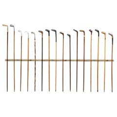 Antique Golf Club Walking Stick Collection of 16 Canes, Sunday Clubs