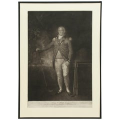 Antique Golf Engraving, Henry Callender ESQ, Golf Mezzotint