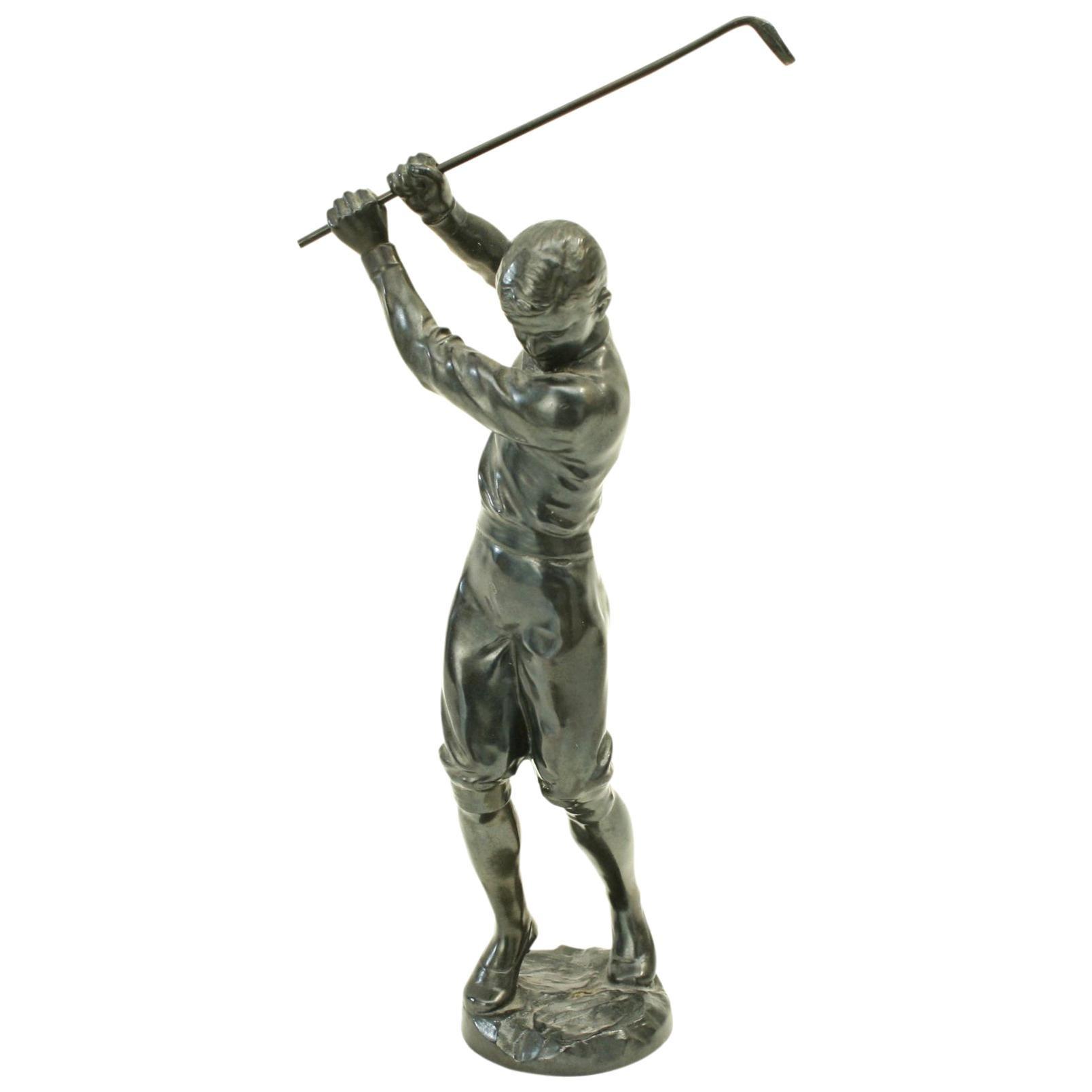 Antique Golf Figure of a Boy in Full Swing