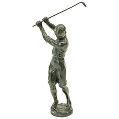 Antique Golf Figure of a Boy in Full Swing