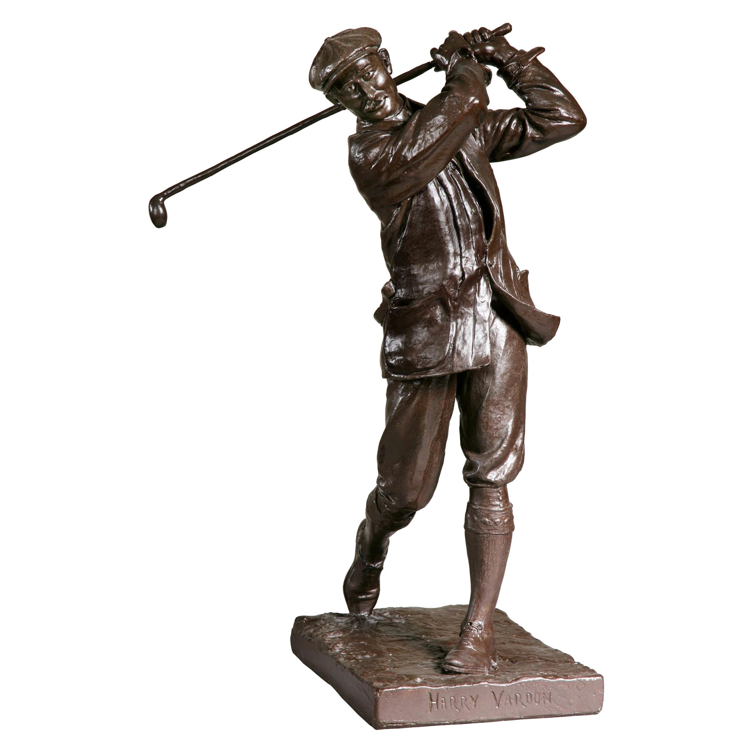Antique Golf Figure of Harry Vardon, Champion Golfer by Hal Ludlow