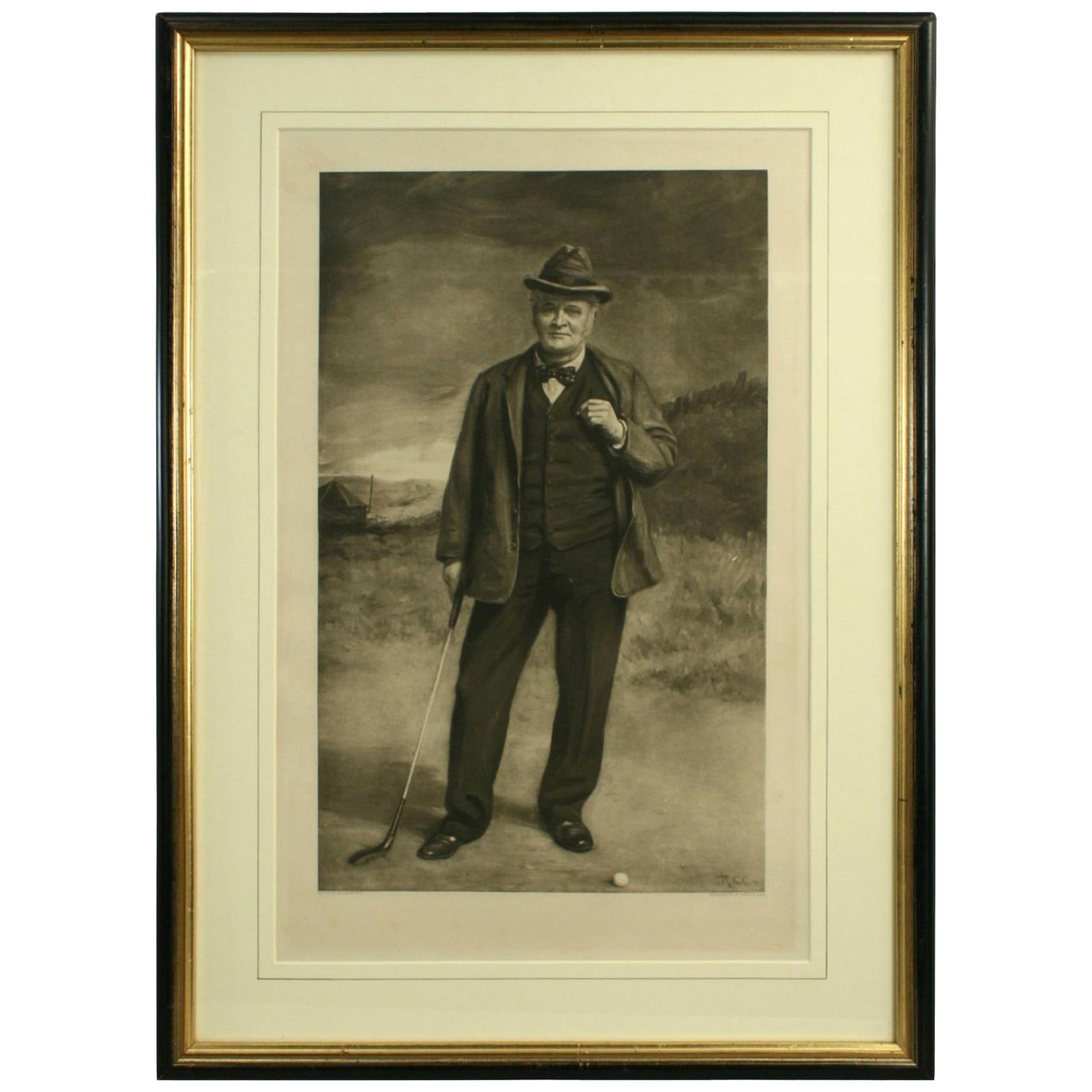 Antique Golf Portrait, Charlie Hunter of Prestwick, Photogravure