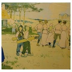 Antique Golf Poster, Coq Sur Mer, De Haan, Belgium, 1897