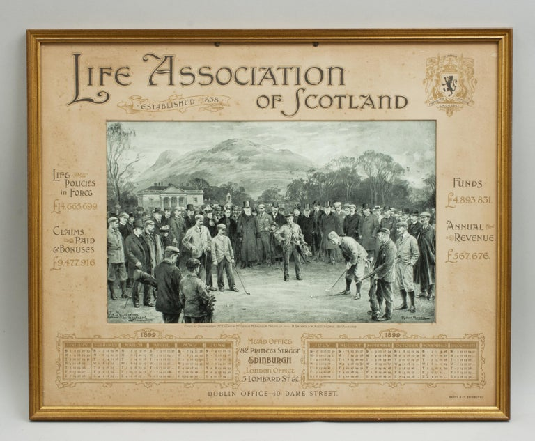 Antique Golf Print, Match At Duddingston. An original Life Association of Scotland 1899 calendar. The calendar has been framed in a gilt frame with glass and is with a wonderful central golfing picture of a match at Duddingston Golf Club. The