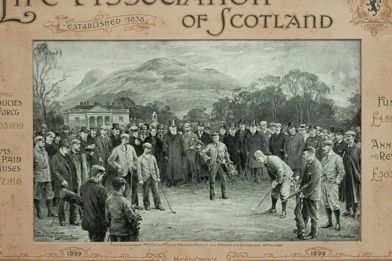 Sporting Art Antique Golf Print, Duddingston, Life Association of Scotland, Michael Brown For Sale
