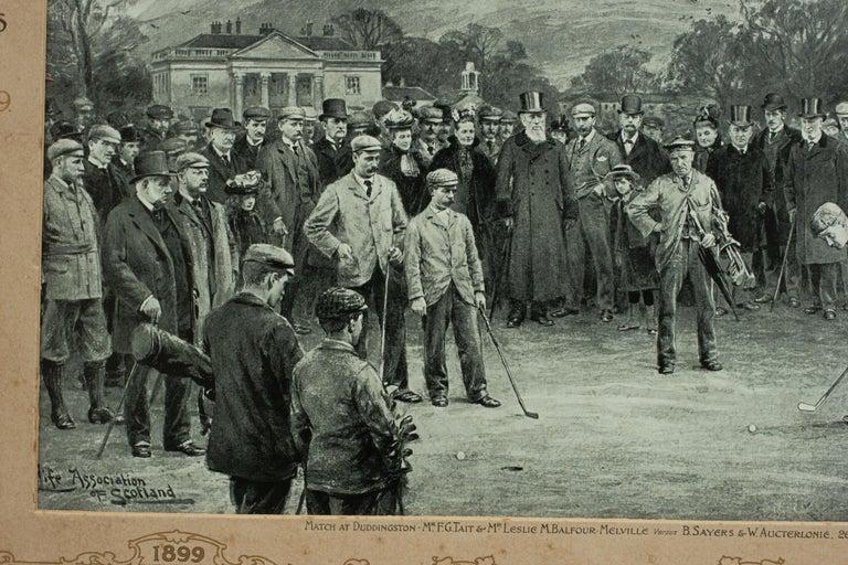 British Antique Golf Print, Duddingston, Life Association of Scotland, Michael Brown For Sale