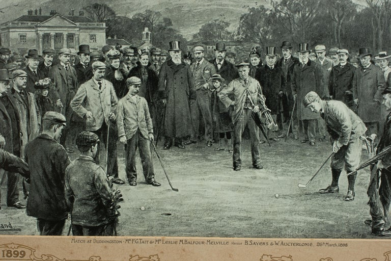 Antique Golf Print, Duddingston, Life Association of Scotland, Michael Brown In Good Condition For Sale In Oxfordshire, GB
